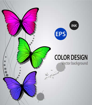 Butterflys on a swirl background could be used like an ink or printer advertisement
