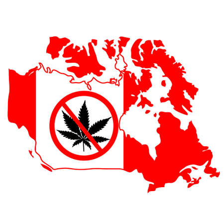 Prohibition sign with marijuana leaf on Canada map