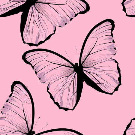 buterfly: seamless tiling repeating butterfly pattern background with beautiful pink butterflies Illustration
