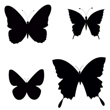 could: Black silhouettes of butterflies could be used like brushes