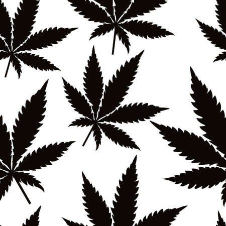 Seamless marijuana black leaves on white background pattern. Vector illustration. Çizim