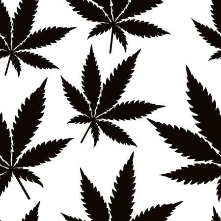 Seamless marijuana black leaves on white background pattern. Vector illustration. Illustration