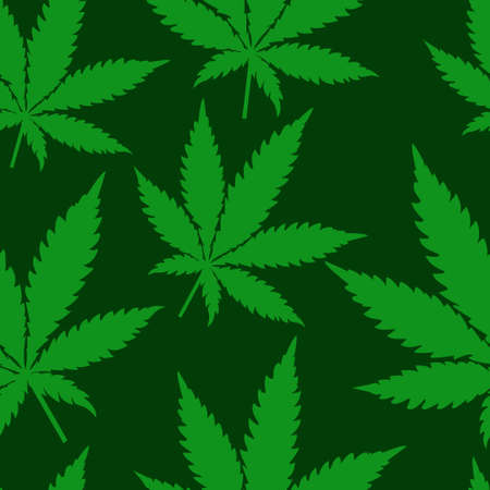 Abstract Cannabis Seamless Pattern Background Vector Illustration green Illustration