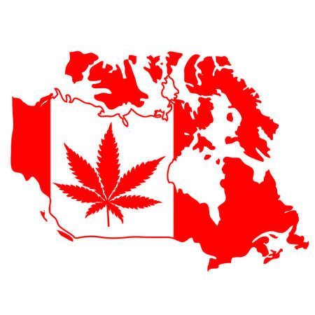 sign with marijuana leaf on Canada map Çizim