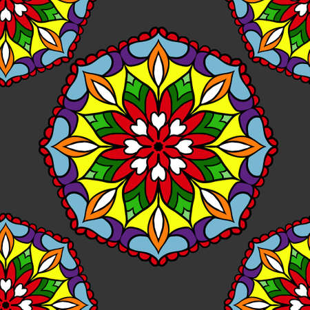 blue glass: Colorful circle flower mandalas geometric seamless pattern in blue red yellow and orange on grey