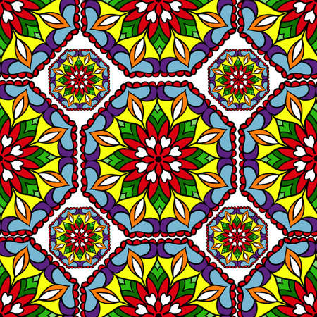 mandala: Colorful circle flower mandalas geometric seamless pattern in blue red yellow and orange Illustration