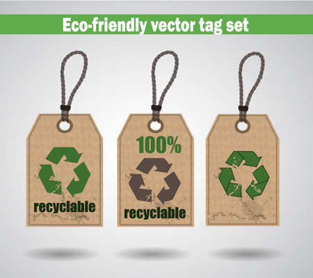 recyclable: Eco Friendly Labels tag set recyclable cardboard