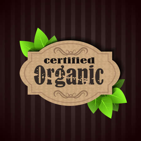 paper recycling: Eco Friendly Label certified organic recycling tag Illustration