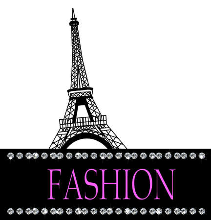 Fashion with    Paris  in the background with diamonds on white Illustration