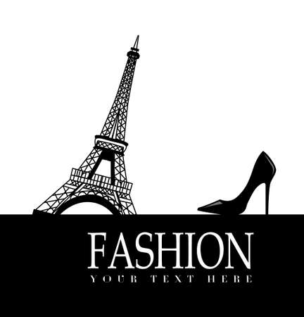 high heel shoe: Fashion with    Paris  in the background on white with high heel shoe