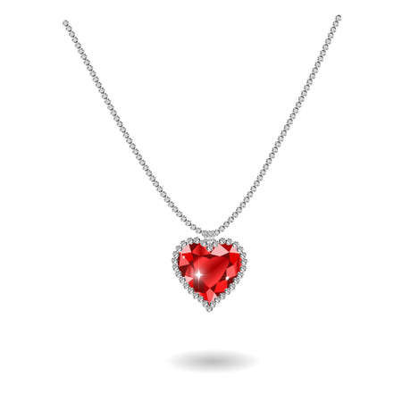 ruby gemstone: gemstone red ruby heart Red diamond illustration.