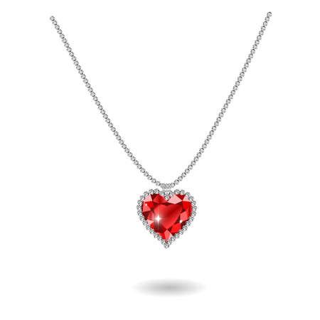 ruby: gemstone red ruby heart Red diamond illustration.