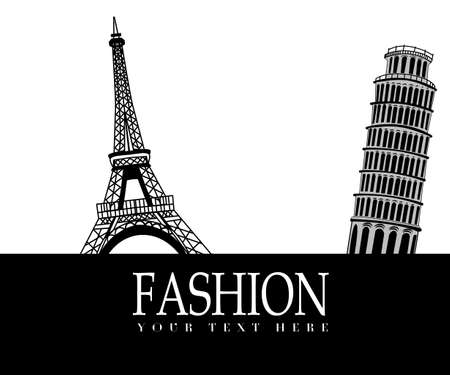 fashion design: Fashion with    Paris and  Pisa in the background on white
