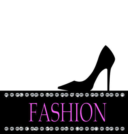 black shoe: Fashion with black shoe  in the background with diamonds on white Illustration