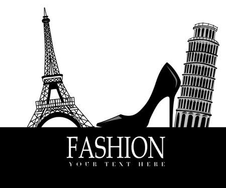 black shoe: Fashion with    Paris and  Pisa in the background on white with black shoe