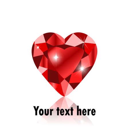 coeur diamant: diamant format forme de coeur pour valentine ou de mariage concept. Illustration
