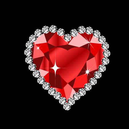 diamond heart: diamond heart shape format for valentine or wedding concept on dark Illustration