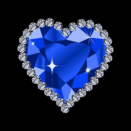 coeur diamant: diamant format forme de coeur pour valentine ou de mariage concept sur le noir en bleu