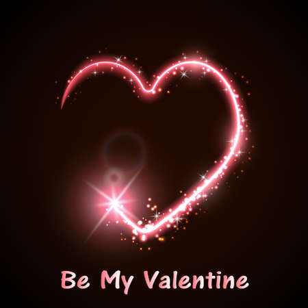 Neon heart on the dark background pink and red