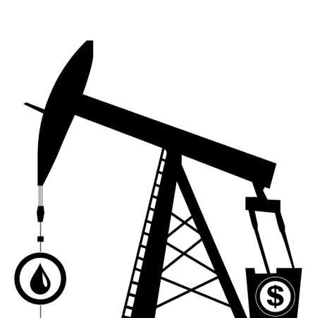 pump jack: oil pump jack icon in black silhouette