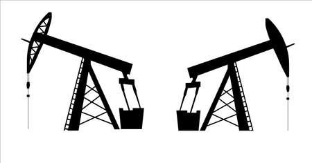 black jack: oil pump jack icon in black silhouette