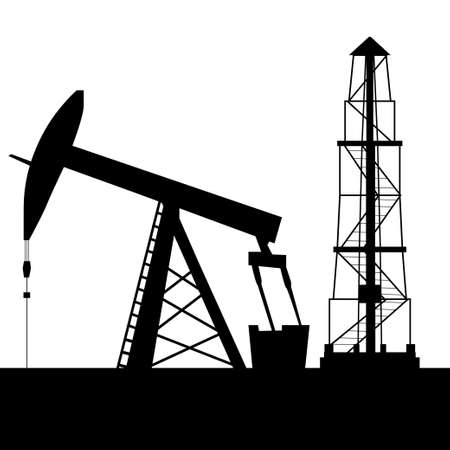 Silhouette of oil derrick oil extraction process