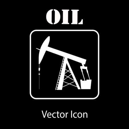 pump jack: oil pump jack icon in white silhouette
