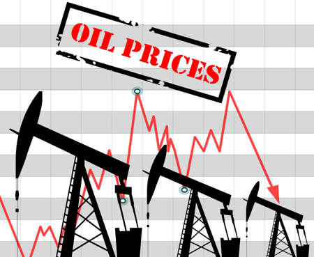 Oil price fall graph illustration Oil pump icons Red arrow Stock Illustratie