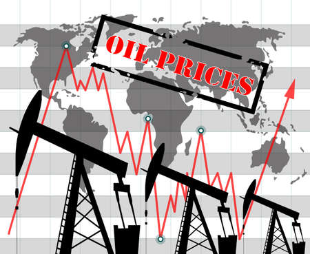 Oil price rise graph illustration Oil pump icons Red arrow
