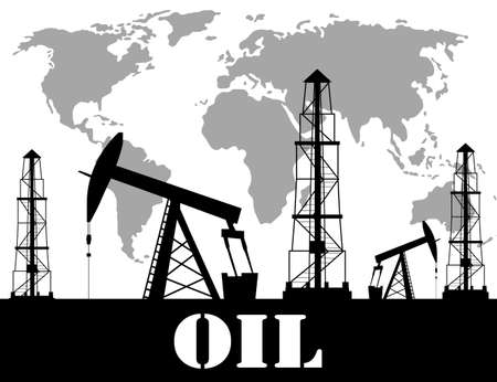 oil derrick: Silhouette of oil derrick oil extraction process