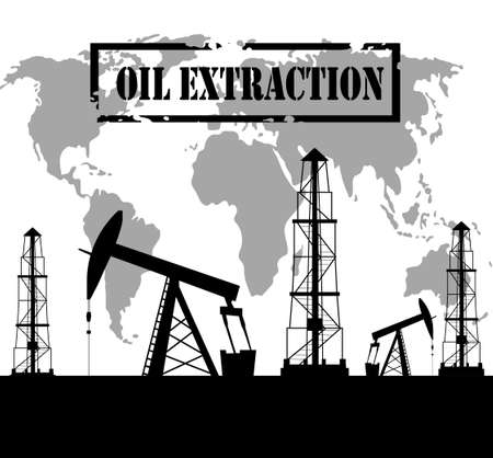 oilfield: Silhouette of oil derrick oil extraction process