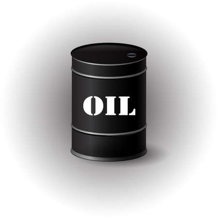 Vector illustration of black metal oil barrel on white background