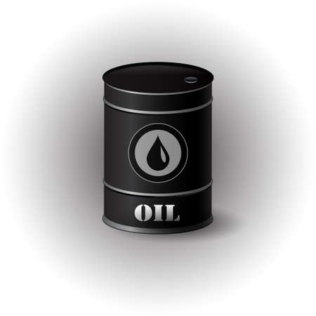 Vector illustration of black metal oil barrel on white background