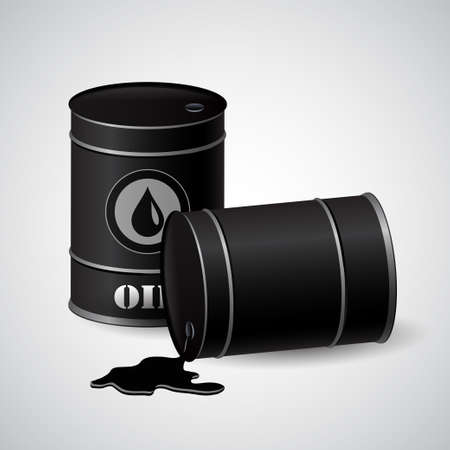 Vector illustration of black metal oil barrels on white background
