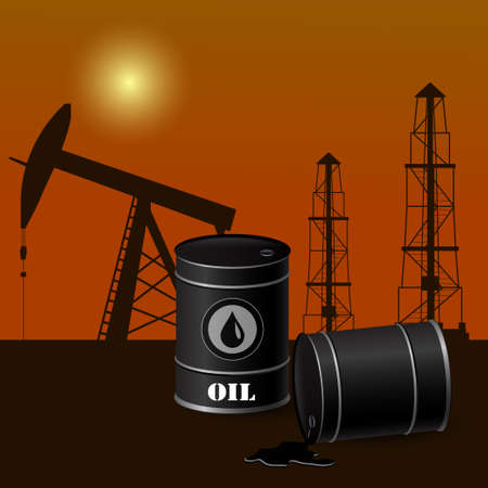 Vector illustration of black metal oil barrels on an oil extraction background Stock Illustratie