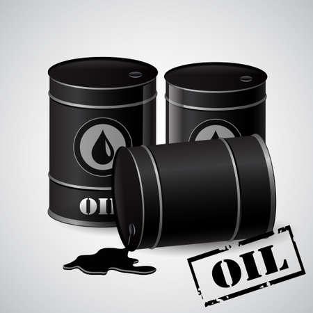 toxic substance: Vector illustration of black metal oil barrels on white background