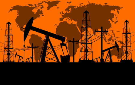extraction: Silhouette of oil derrick oil extraction process in orange