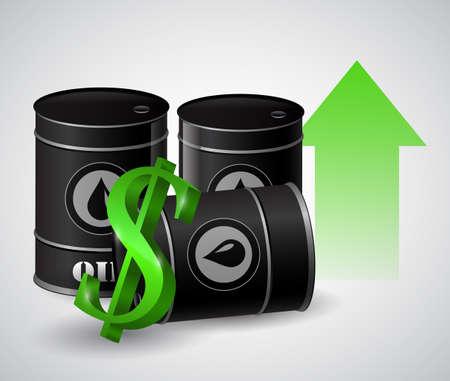 green arrow: Vector illustration of oil barrel with green arrow  pointing up Illustration