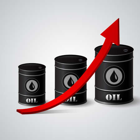 naphtha: Vector illustration of oil barrel with red arrow  pointing up