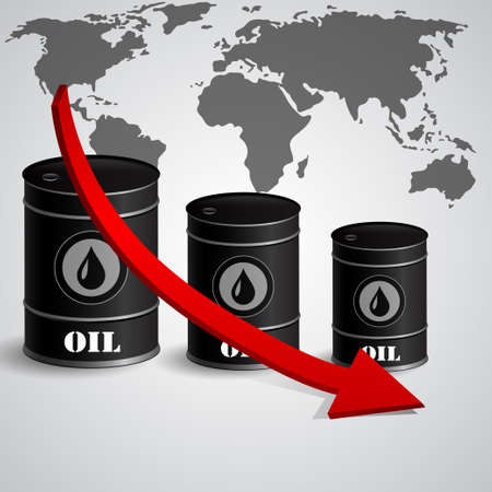Vector illustration of oil barrel with red arrow  pointing down