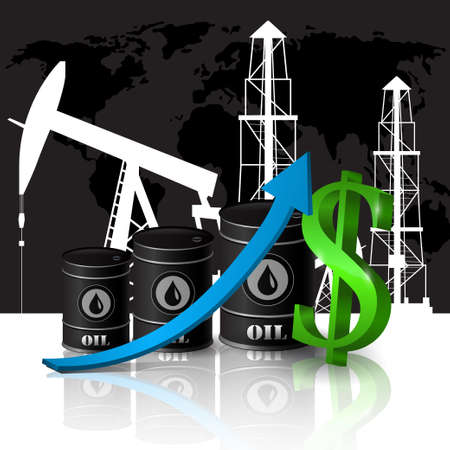 Vector illustration of oil barrel with bluearrow  pointing up Illustration