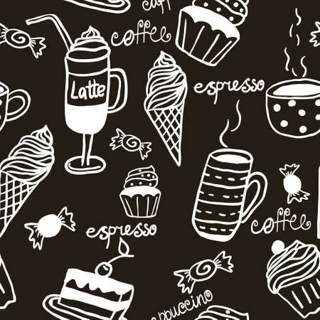 Sweet seamless pattern with drinks and sweets and cups Stock Illustratie
