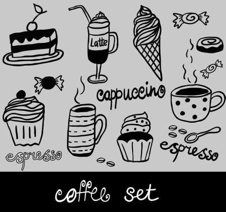 coffee set illustration  coffee cup cafe