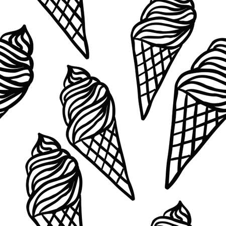 Perfect seamless pattern with ice cream cone