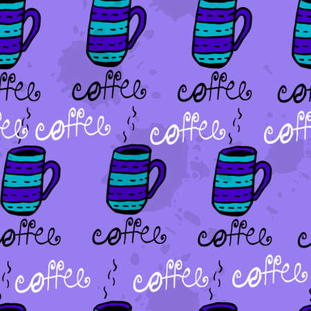 inkblot: Seamless pattern with sketchy hand drawn coffee cups   on inkblot background Illustration