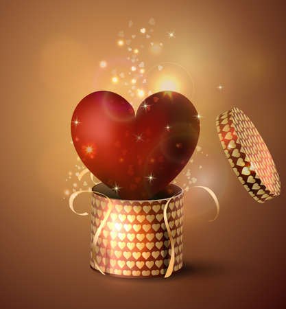 Box With Heart in retro style Background, Vector Illustration