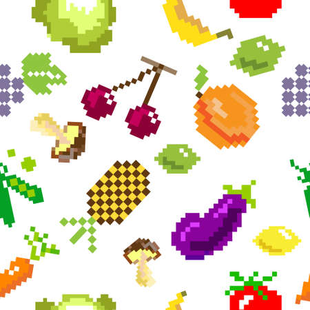 healty food: seamless vector retro pixel game fruits and vegetable  pattern on white
