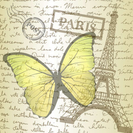 hand writing: table top with sketching paper and yellow butterfly on hand-drawn writing background with  eiffel tower