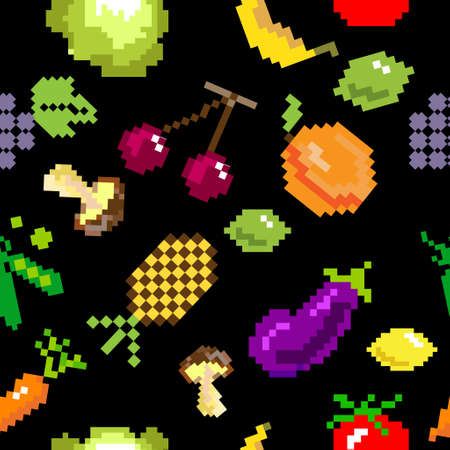 seamless vector retro pixel game fruits and vegetable  pattern on black Ilustracja