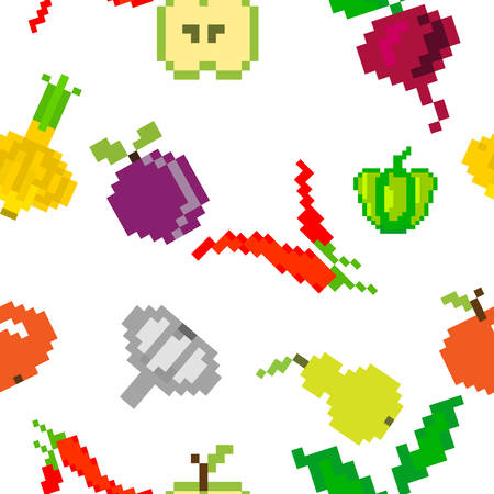 seamless vector retro pixel game fruits and vegetable  pattern on white